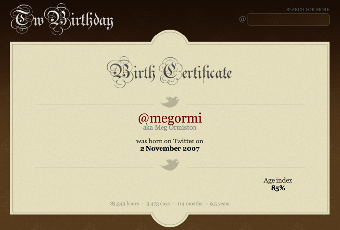 Meg Ormiston's Twitter birth certificate
