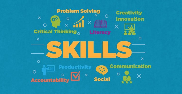 Skills: Problem solving, critical thinking, literacy, creativity, accountability, productivity, social, communication