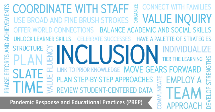 "Word cloud surrounding the word ""Inclusion"". Part of the Pandemic Response and Educational Practices (PREP) blog series."