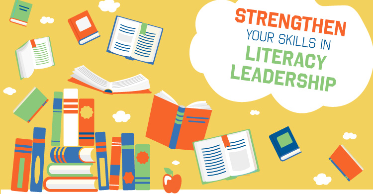 illustration of books with text strengthen your skills in literacy leadership
